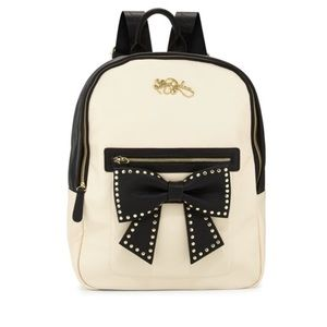 Betsey Johnson Black and Cream Backpack with Bow